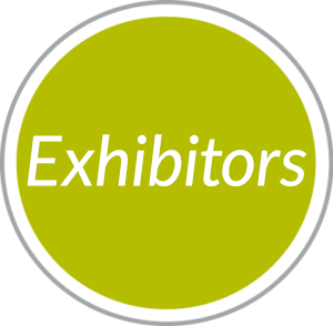 Round green navigational button to Exhibitors