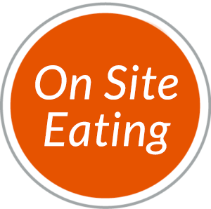 Round red navigational button to On Site Eating