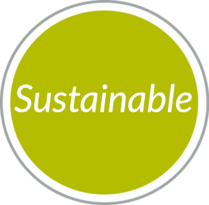 Round green navigational button to Sustainable Hospitality