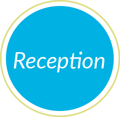 reception blue circle graphic
