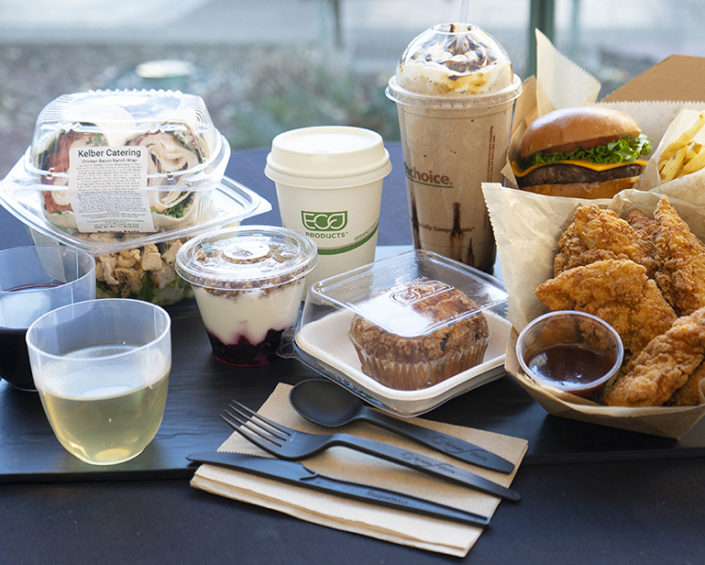 Sustainable Practices include compostable cups, silverware and containers