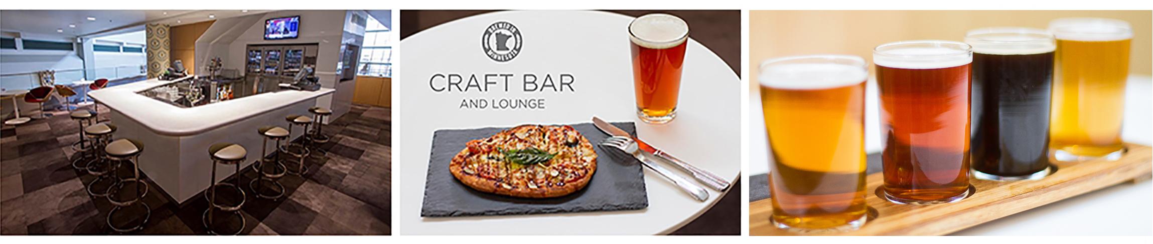 Craft Bar, Margherite Naan Pizza, Draft Beer Flight