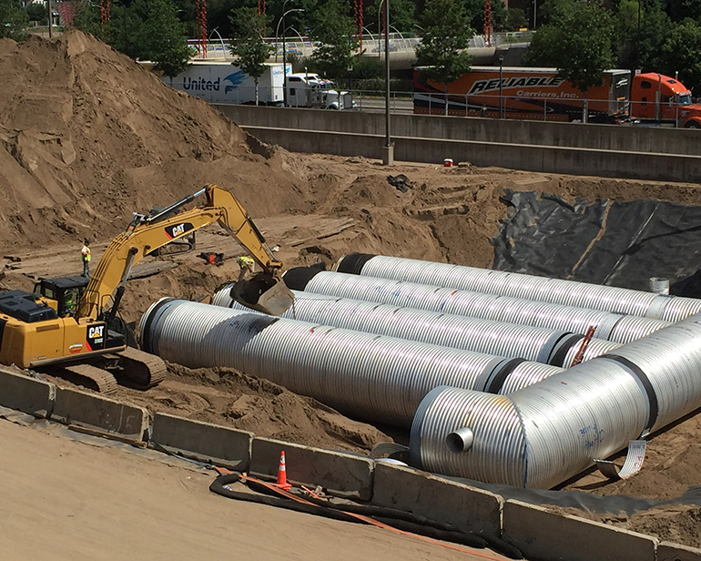 Construction of the storm water runoff storage system