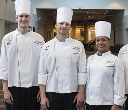 Executive Sous Chef Shane Streitz and his team: Daymara Sanchez and Brad Sanborn.